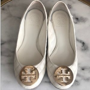 Quilted Tory Burch flats white